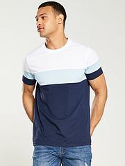 331363c6 V by Very Cut & Sew Colour Block T-shirt - Navy/Blue