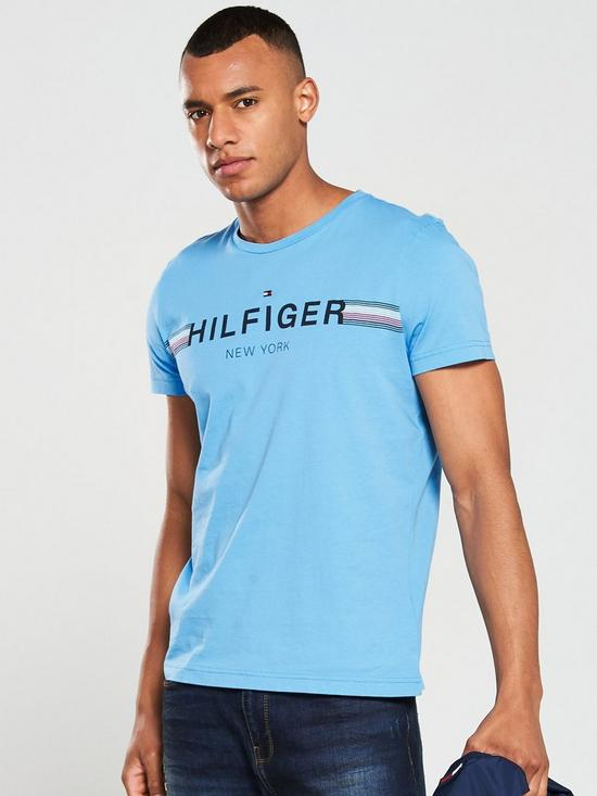 d262b9e8f Tommy Hilfiger Corporate Flag T-Shirt - Alaskan Blue | very.co.uk