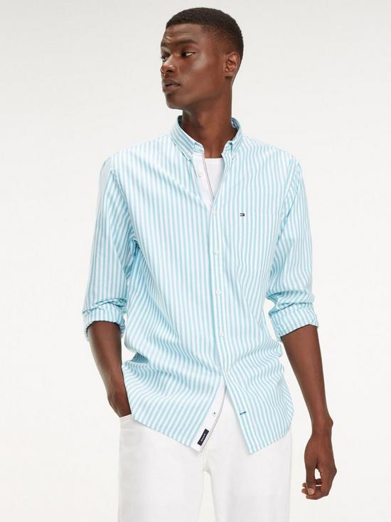 1dff1ee86 Tommy Hilfiger Organic Oxford Stripe Shirt - Blue/White | very.co.uk