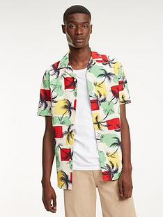 18919791 Tommy Hilfiger Palm Tree Print Short Sleeved Shirt - Multi-Coloured