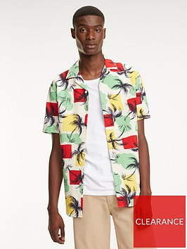 tommy-hilfiger-palm-tree-print-short-sleeved-shirt-multi-coloured
