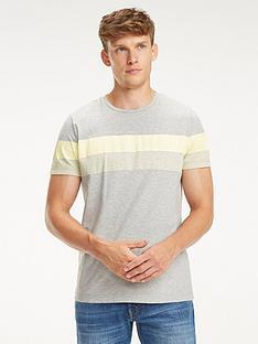 tommy-hilfiger-short-sleeve-block-stipe-t-shirt-grey