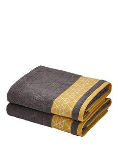 catherine-lansfield-linear-diamond-towel-range-charcoalyellow