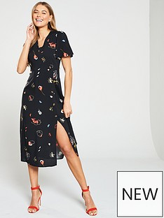warehouse-floral-print-midi-dress-black