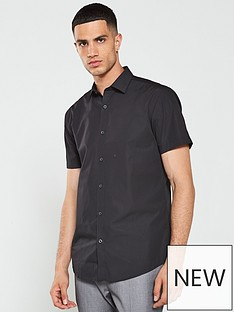 v-by-very-short-sleeved-easycare-shirt-buy-2-for-pound20-black