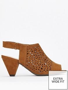 e1a0e7a88f47 Evans Evans Extra Wide Fit Lazer Cut Cone Heel Shoe