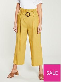 warehouse-tie-waist-linen-culottes-yellow