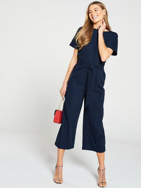 42207bab957d Warehouse Slash Neck Jumpsuit - Navy