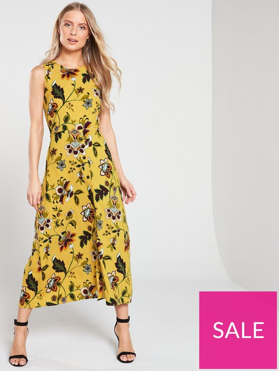 753d5e4af Warehouse Paisley Tie Knot Back Midi Dress - Mustard | very.co.uk