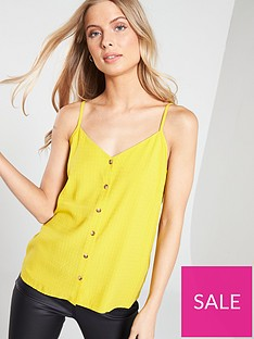 warehouse-textured-button-front-cami-yellow