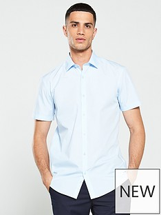 v-by-very-short-sleeved-easycare-shirt-buy-2-for-pound20-blue