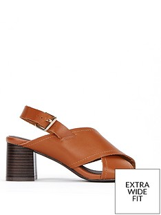 1a59a095f0f Evans Evans Extra Wide Fit Cross Over Flared Heel Sandal