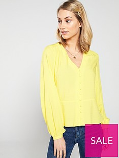 warehouse-v-neck-textured-button-top-yellow