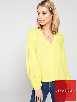 warehouse-v-neck-textured-button-top-yellow