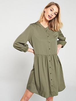 warehouse-oversized-collarless-dress-khaki