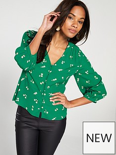 warehouse-verity-ditsy-floral-button-front-top-green