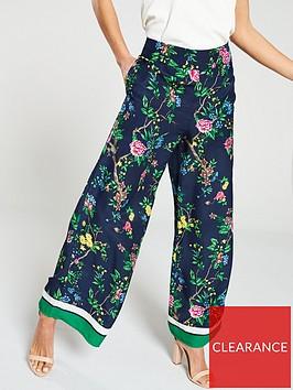 warehouse-scarf-print-wide-leg-trouser-green