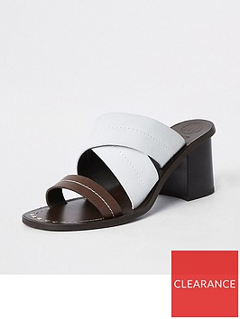 river-island-river-island-leather-contrast-strap-mule-sandal-brown