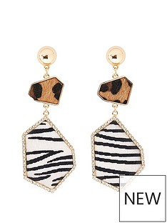 river-island-river-island-animal-print-mix-drop-earrings-gold