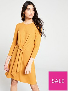 v-by-very-knotted-jersey-dress-mustard
