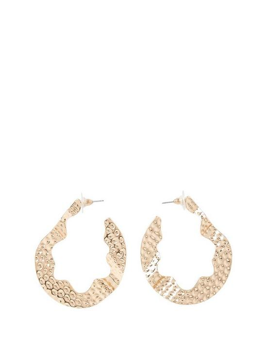 5594d5681 River Island River Island Dent Effect Hoop Earrings - Gold | very.co.uk