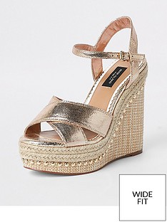 0b2d27410e7 River Island River Island Wide Fit Metallic Studded Wedge - Gold