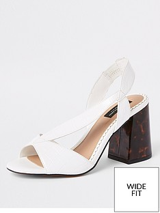 3258f920fff River Island River Island Wide Fit Contrast Heel Sandals - White
