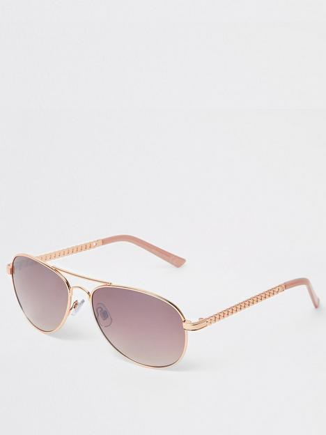river-island-river-island-chain-detail-pink-tint-aviator-sunglasses-rose-gold