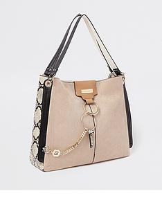 097ad8542e5 River Island River Island Ring Front Snake Panel Slouch Bag - Beige