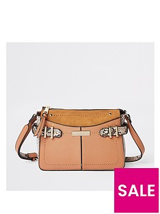 b5623540d8cc River Island River Island Snake Print Trim Cross Body Bag - Tan