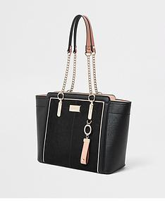 ffeafd5d725 River Island River Island Chain Handle Wing Tote Bag - Black