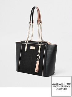 ae25c4a659fc River Island River Island Chain Handle Wing Tote Bag - Black