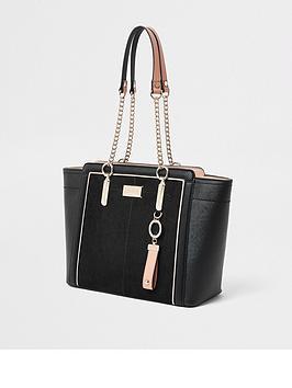river-island-river-island-chain-handle-wing-tote-bag-black