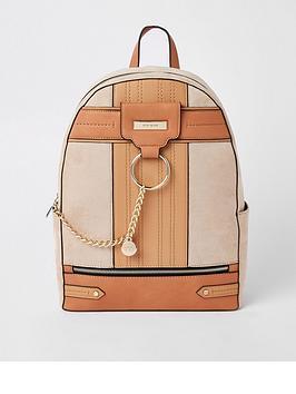 river-island-medium-backpack-tan