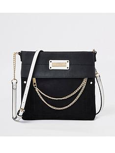 River Island River Island Contrast Strap Cross Body Messanger Bag - Black eeeba345e4fe9
