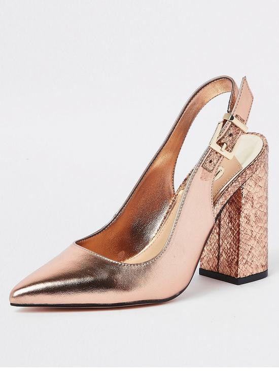 6a9072c62db River Island River Island Block Heel Slingback Court Shoe - Rose Gold