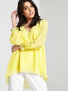 wallis-embellished-cuff-hi-lo-top-yellow