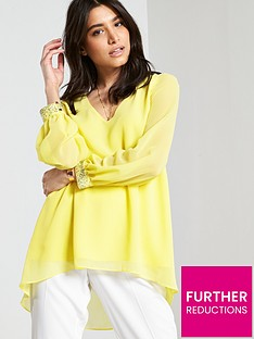 wallis-embellished-cuff-hi-lo-top-yellow