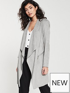 wallis-wallis-suedette-waterfall-longline-jacket