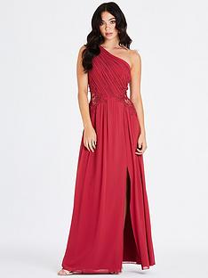 620c565fcb7 Little Mistress One Shoulder Lace Trim Maxi Dress - Cranberry