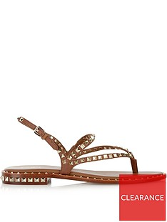 ash-peps-leather-and-stud-sandals-tan