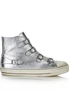 ash-virgin-high-top-buckle-metallic-trainers-silver