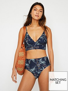 warehouse-palm-print-banded-bikini-top