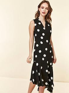 015167b6a9c Wallis Petite Halter Mixed Spot Dress - Monochrome