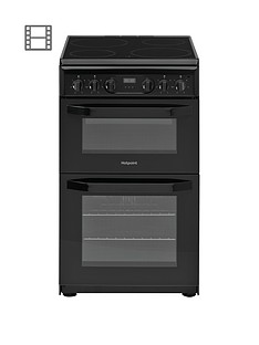 Hotpoint HD5V93CCB 50cm Wide Electric Double Oven Cooker - Black Best Price, Cheapest Prices