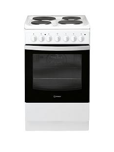 Indesit IS5E4KHW 50cm Electric Solid Plate Single Oven Cooker - White