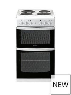 Indesit ID5E92KMW 50cm Electric Solid PlateTwin Cavity Single Oven Cooker - White