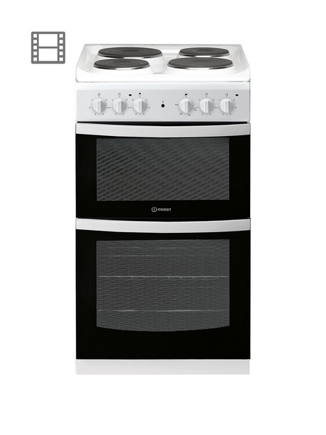 indesit-id5e92kmw-50cm-widenbspelectric-solid-platenbsptwin-cavity-single-oven-electricnbspcooker-white