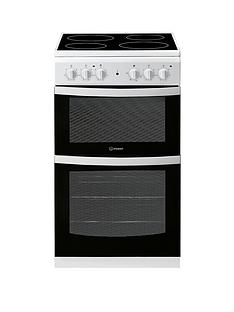 Indesit ID5V92KMW 50cm Electric Twin Cavity Single Oven Cooker - White Best Price, Cheapest Prices