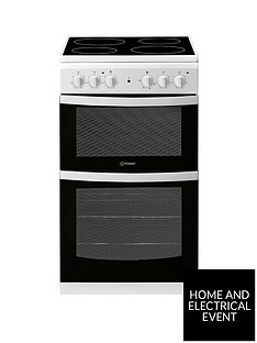indesit-id5v92kmw-50cm-electric-twin-cavity-single-oven-cooker-white